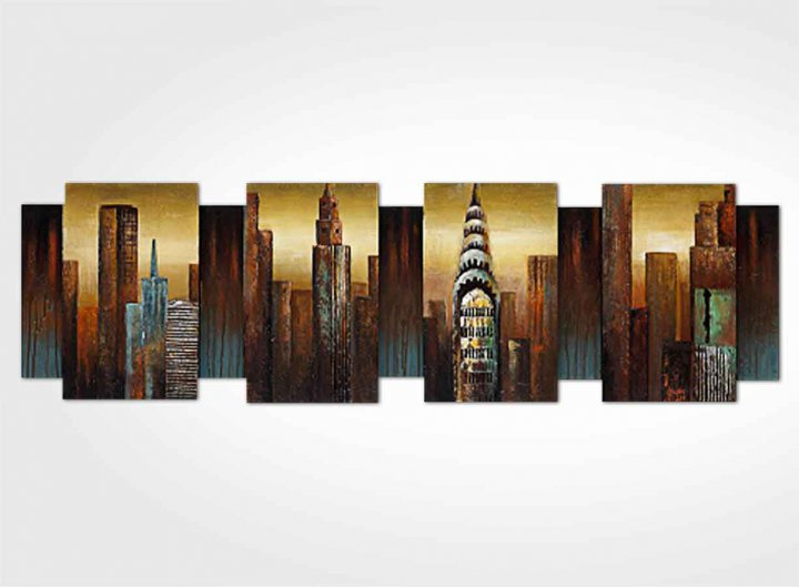 Tableau relief new york 3d for Tableau triptyque new york