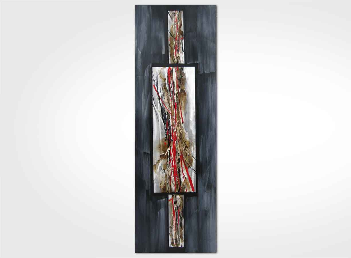 Tableau contemporain gris souris rouge 40 x 120 new art gallery - Tableau contemporain moderne design ...