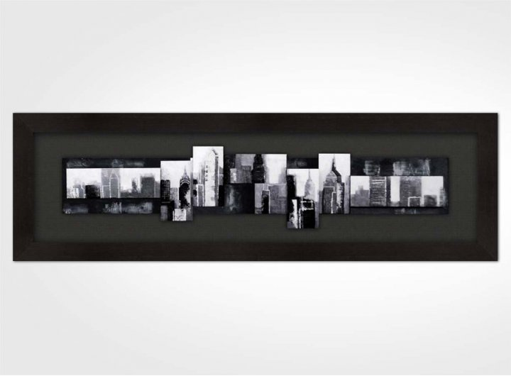 tableau 3d new york noir et blanc. Black Bedroom Furniture Sets. Home Design Ideas