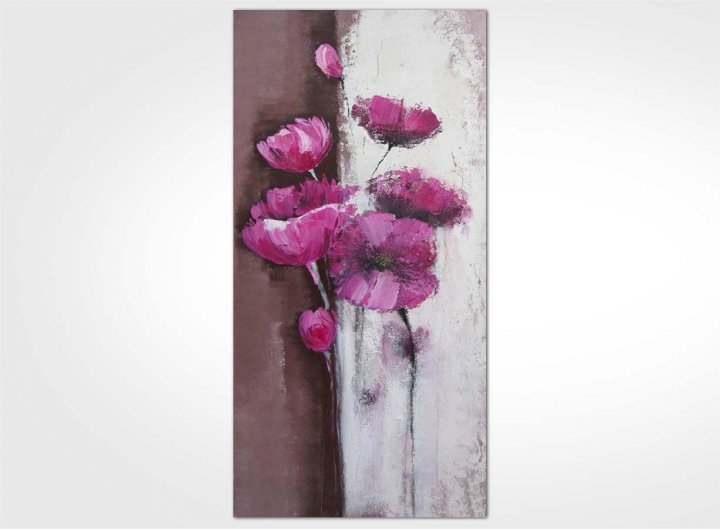Exceptionnel tableau contemporain fleur rose 120 x 60 : New Art Gallery SQ94